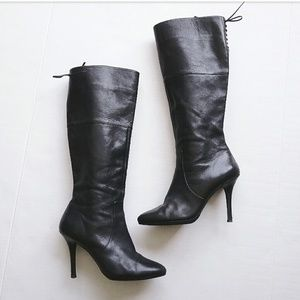Ralph Lauren Lavinia Black Leather Heel Tall Boots